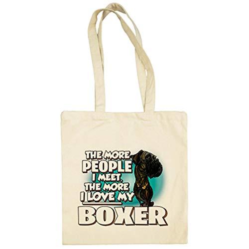 Diver Bebé Bolsa de tela I love my Boxer Atigrado raza perro - Beige, 38 x 42 cm