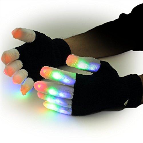 Ucult LED Handschuhe LED Blink-Handschuhe Party Festival Zubehör mit 6 Leuchtfunktionen