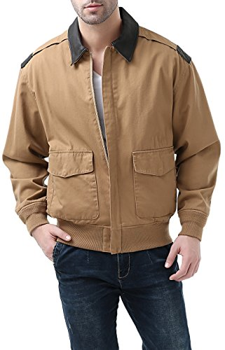 Landing Leathers Mens's Air Force A-2 Windbreaker Bomber Jacket with Leather Trim Tan Large
