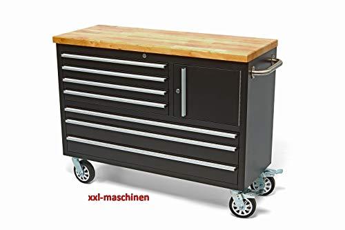 Nr. 4904 Werkstattwagen Werkzeugwagen Schwarz 7 Schubladen 1 Fach, Holzplatte