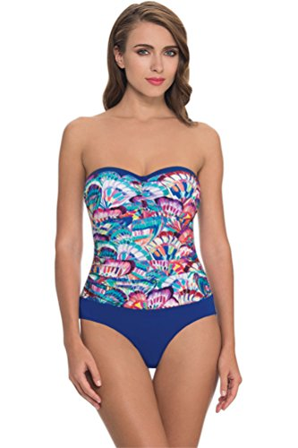 Profile by Gottex Women's Madame Butterfly One Piece Bandeau Swimsuit Multi 14