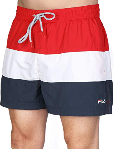 Fila 687203 Men Saloso Swim Shorts Black Iris-Bright White-True Red - True Red-Bright White-Black, Small