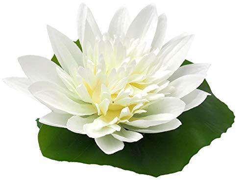 ZauberDeko Kunstblume Seerose Wasserpflanze Kunstpflanze Teichpflanze Deko Balkon Garten Schwimmpflanze