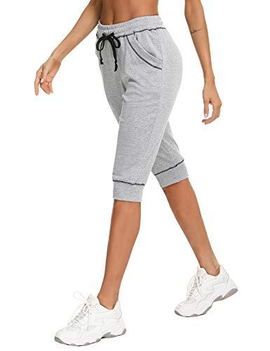 iClosam Donna Sportivi Pantaloni 3/4 Cotone Pantaloni Tuta Donna Tasche Vita Alta Jogging Fitness Yoga