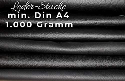Lederreste Bastelleder Lederstücke 1 Kg Schwarz, Alle Stücke Mind. DIN A4 - Zum Basteln und Nähen -
