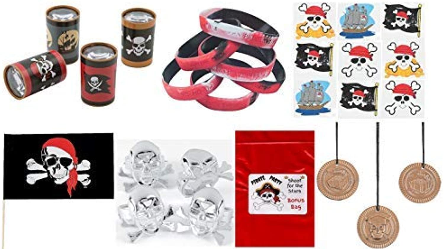108 Pc Pirate Party Favors Bundle Necklace Bracelet Rings Tattoos Flags