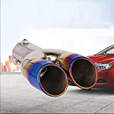 Dual Exhaust Tip Exhaust Pipe Trim Stainless Steel Muffler Tail Universal Double Outlets End Pipe 62MM Blue