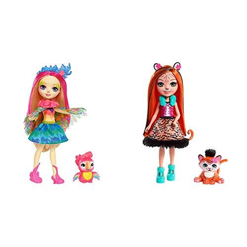 Enchantimals - Muñeca Peeki Parrot - muñeca, Edad recomandada 4 - 10 años (Mattel FJJ21) + Muñeca Tanzie Tiger - (Mattel FRH39)