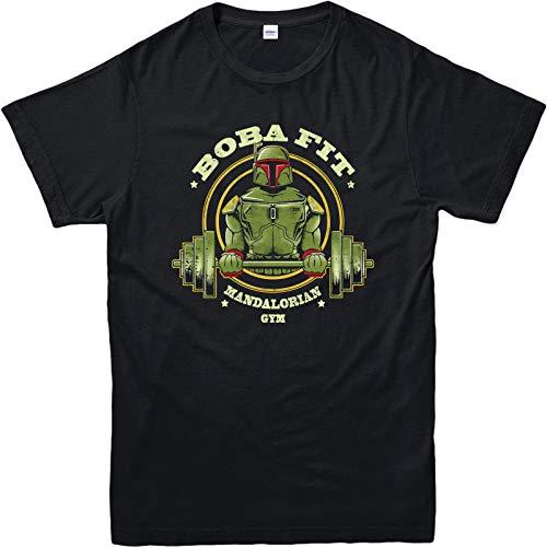 Boba Fett Gym T-Shirt Star Wars Franquicia Personaje, Adulto y Niños Talla Negro Negro ( S