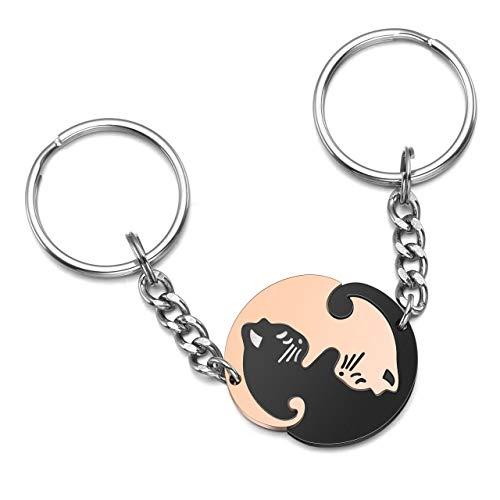 Zysta Par de llaveros de acero inoxidable Ying Yang Taichi Fengshui, negro, oro rosa, gatos, puzle colgante, para parejas, regalo