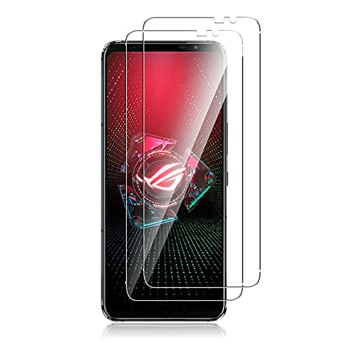 QULLOO Panzerglas Schutzfolie kompatibel mit Asus ROG Phone 5/5 Pro/Asus ROG Phone 5 Ultimate,[2 Stück] HD Klar Bildschirmschutz Folie Glas Anti-Scratch Bildschirmschutzfolie - Transparent