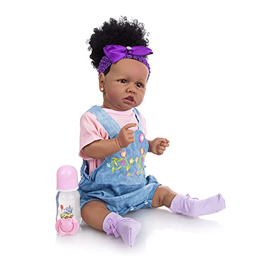 Silicone Vinyl Reborn Baby Dolls Black Girl SEAAN Realistic Newborn Baby Dolls That Look Real 22 Inch for Age 3+