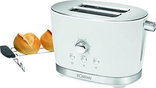 Bomann TA 3005 CB 2-Scheiben-Toaster mit Brötchenaufsatz, Krümelschublade, Auftaufunktion, Aufwärmfunktion, Schnellstoppfunktion, Weiß
