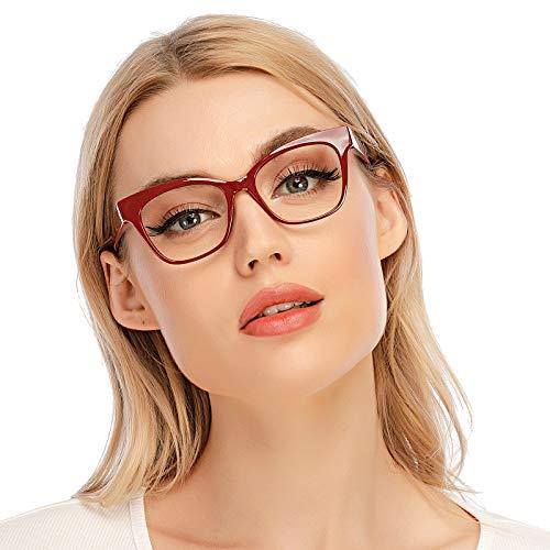 DOOViC Blaulichtfilter Lesebrille Rot/Eckig Rahmen Große Gläser Computerbrille mit Sehstärke für Damen/Herren 1,5
