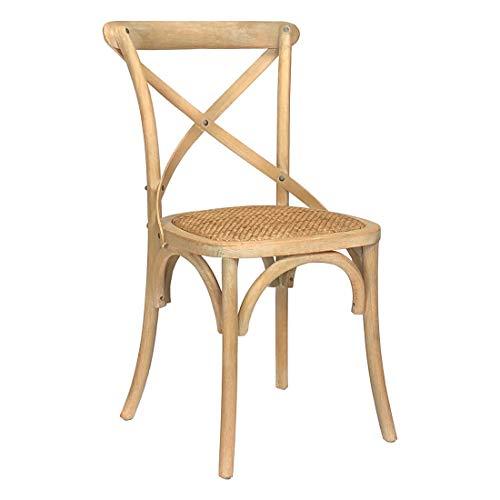 Totò Piccinni Sedia in Legno Design Cross, Seduta Intreccio Rattan, Alta QUALITA' (Naturale, 1)