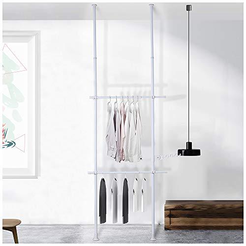 DYN Ptah Weißer Kleiderständer zum Aufhängen von Kleidung, 2 Etagen, verstellbar, strapazierfähig, freistehend, Schranksystem, Kleiderständer, von Boden bis Decke