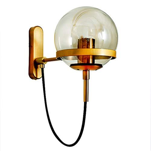 MIJOGO industriële glaswand-verlichting, glazen bol-wandlamp, vintage-art-wandlampbevestigingen voor E27-peertjes, messing, donkere afwerking (brons), warm licht