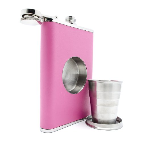 The Original Shot Flask - 8oz Hip Flask with a Built-in Collapsible Shot Glass - Stainless Steel with Premium Bonded Leather Wrapping (Pink)