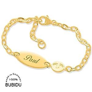 Baby ID Armband Mädchen gold Taufarmband mit Gravur ❤️ Babyarmband 925 Silber ❤️ Taufschmuck mit Namen Namensarmband…