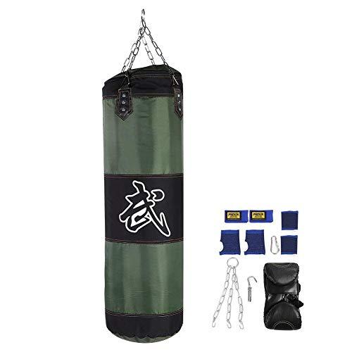 Tbest Boxsack Sandsack Kinder/Erwachsene Hängender Boxsack Freistehender, 7 + 1 Leeres MMA Kickboxing Muay Thai Boxen Sandsack Training Boxhaken Kick Sandsack Kampf Karate Punch Sandsack(60CM- Grün)
