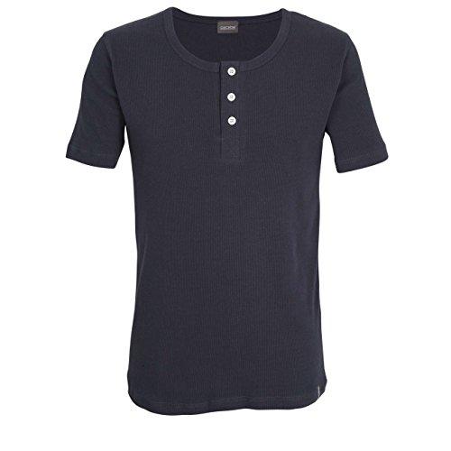 Ceceba Herren Shirt, Kurzarm, Baumwolle, Doppelripp, blau, Uni 8