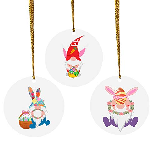 favourall 3 piezas de adorno colgante de conejo de Pascua con diseño de conejo de dibujos animados redondos para decoración interior o exterior en casa