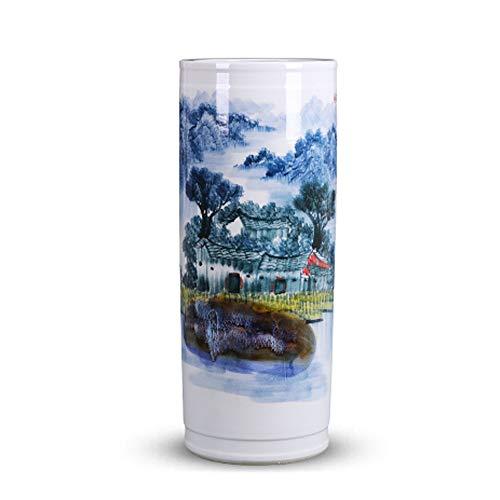 SLSMD Grote Cilinder Keramische Vloer Vaas, Keramiek Vloer Grote Vazen Decoratie Handgeschilderd Porselein Chinese Home Decoratie Ornament