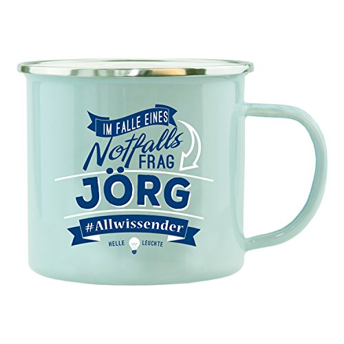 History & Heraldry Echter Kerl Emaille Becher, Jörg, Mehrfarbig
