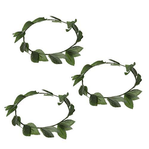 harayaa 3X Roman Greek Womens Green Wreath Diadema Diadema Princesa Elf Disfraz Prop