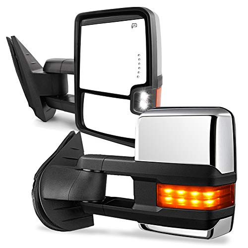 ECCPP Tow Mirrors Towing Mirrors fit for 2014-2018 Chevy GMC 1500 2015-2019 Chevy GMC 2500 HD 3500 HD with Left Right Side Power Adjusted Heated Turn Signal Light with Chrome Housing