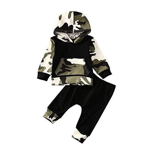 Bebé Conjunto Deportivo Chándal Sudadera de Manga Larga con Capucha+ Pantalones para Niños Pequeños 0-5 Años Traje de Ropa Otoño Invierno (Camuflaje C, 3-6 Meses)