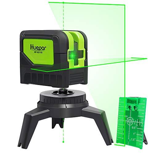 Huepar Cross Line Laser Level with 2 Plumb Dots Green Beam Self...
