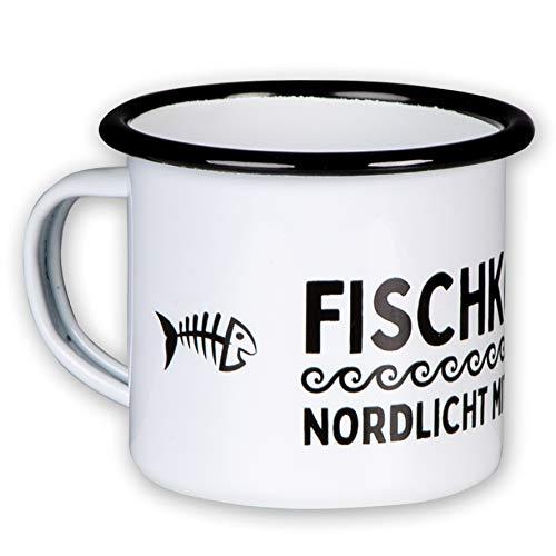 MUGSY - DAS TASSENWERK Hochwertige Emaille Tasse FISCHKOPP - NORDLICHT MIT Herz mit coolem Design, leicht und bruchsicher, für echte Nordlichter und Liebhaber des Nordens