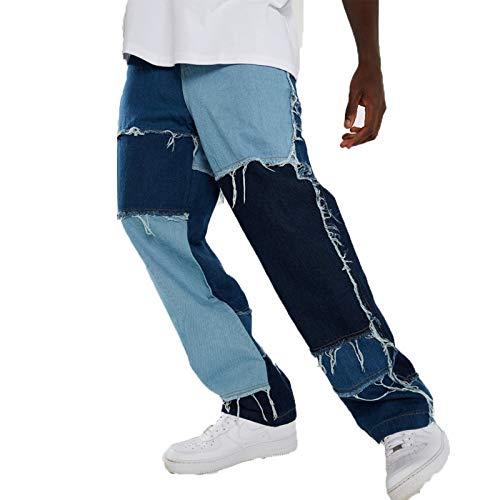 Carolilly Herren Straight Jeans Farbblock Patchwork Denim Hose Retro Nähen Loose Jeans Jogginghose Streetwear Fit für Männer (blau, M)