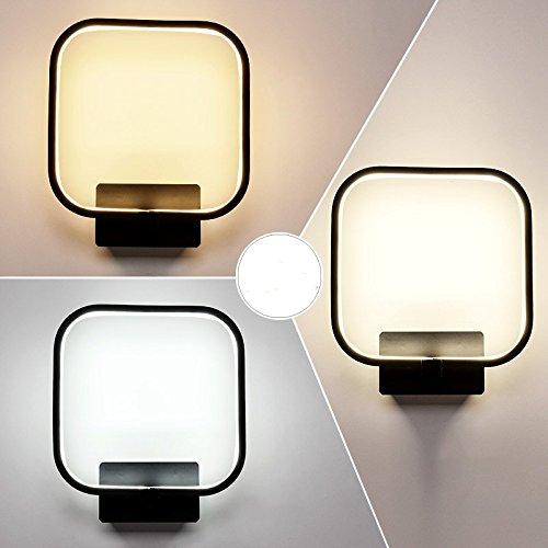 Creative Led moderne minimaliste mur de chevet chambre à coucher Lampe lumière escalier Couloir Couloir Art,lampe noir A 24 * 21cm,14 Watts éclairage réglable 3-couleurs