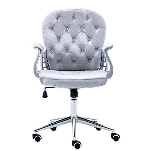 JL Comfurni Silver Grey Crushed Velvet Fabric Home Office Chair Swivel High Adjustable Computer Desk Chairs Graceful Reception Chairs (Grey)