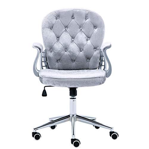 JL Comfurni Bürostuhl Drehstuhl Ergonomisch Schreibtischstuhl höhenverstellbar 360°drehbar Computerstuhl Chefsessel mit Armlehne für Mädchen/Kinder Grau