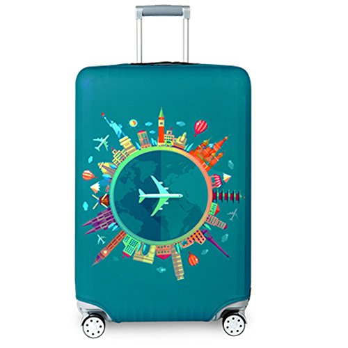 Travel Suitcase Protector Zipper Suitcase Cover Washable Print, Blue, Size M