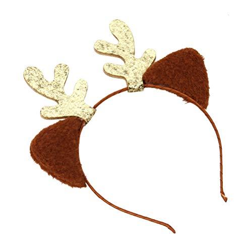 BESTOYARD Weihnachten Haarreif Rentier Stirnband Katzenohren Haarbänder Kinder Mädchen Hirsch Geweih Haarschmuck Kostüme Zubehör (Golden)