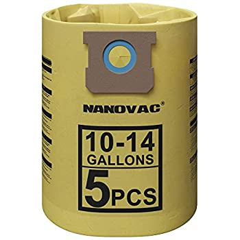 NANOVAC Shop Vac Bags 10-14 Gallon - Shop Vac Bags 90672 90662 - Type F Double Layer Shop Vac Bags  5 Pack