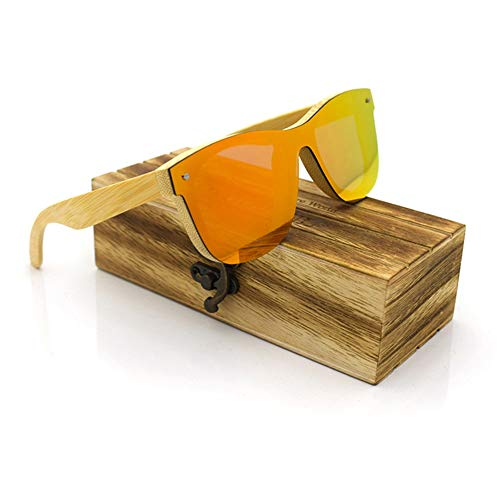 BERYLSHOP Mode hochwertige Holz Brille, Flache Sonnenbrille, Unisex (Color : Orange+Bamboo)