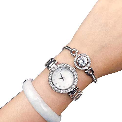 Boylee Reloj de pulsera con brillantes de cristal, set de regalo de oro rosa/plata, reloj para mujer para niñas, pulsera de diamantes de imitación, set de regalo de cristal rosa/plata para mujeres