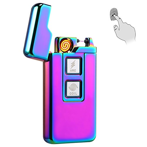 Kivors 2-in-1 Plasma Arc Lighter Coil Lighter USB Rechargeable Windproof Electrical Arc Cigarette Lighter with Touch Controls, TSA Approved, Chameleon