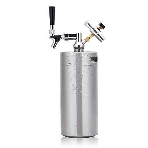 Lamtor G005-3.6L 128 Ounce Mini Keg Pressurized Growler for Craft Dispenser System CO2 Adjustable Draft Beer Faucet with Perfect Pour Regulator, 3.6L, Silver