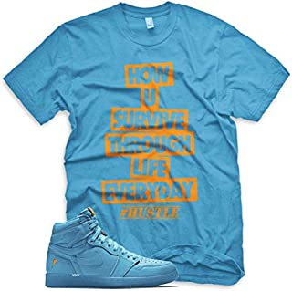 HUSTLE T Shirt for Jordan 1 Retro Cool Blue Lagoon Gatorade Purple Lime Orange