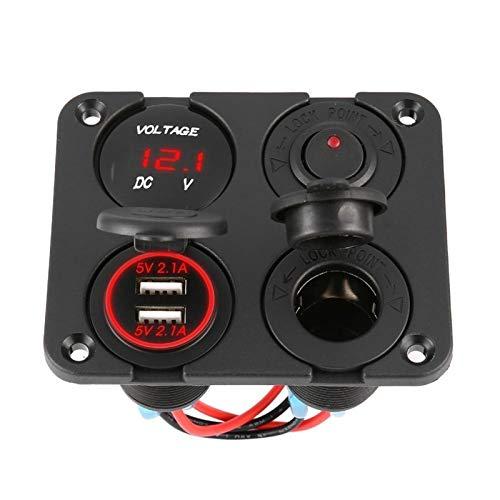 LiHaQin Dual USB Puertos Cargador de automóviles + Voltímetro LED + Toma de Corriente de 12-24V + Interruptor de Encendido ON-Off 4 en 1 Coche Marino LED de Interruptor LED LiHaQin