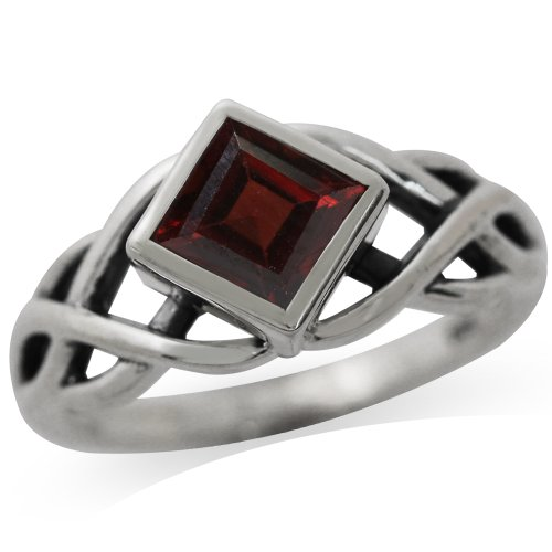 Silvershake 1.37ct. Natural Garnet 925 Sterling Silver Celtic Knot Solitaire Ring Size 7