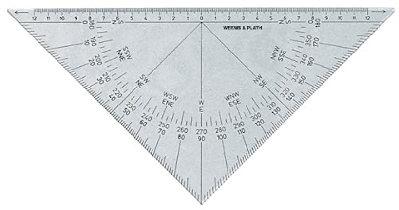 Weems & Plath Marine Navigation Protractor Triangle with Black Markings