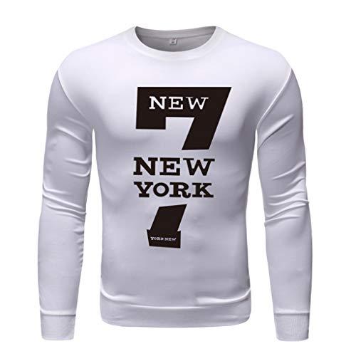 Xmiral T-Shirt Hemd Buchstabe Gedruckte Langärmlig Rundkragen Tops Einfach Oberteile Herbst Bodenbildung Wild Pullover Sweathshirt(g Weiß,XL)