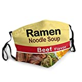Ramen Noodle Soup Beef Flavor Washable Face Mask with Adjustable Straps Mask for Kids Man and Woman